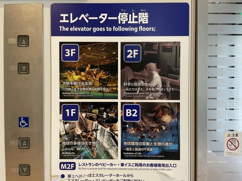 国立科学博物館 地球館 エレベーター